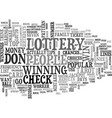 win the lottery tips text word cloud concept vector image vector image