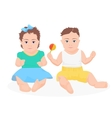 Cute funny baby boy and girl sitting together vector image