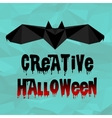 Origami Halloween bat with text vector image