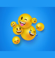 3d yellow smiley face icons on blue background vector image