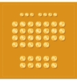 ABC alphabet Golden coins on orange background vector image