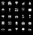Asset and property icons with reflect on black vector image vector image
