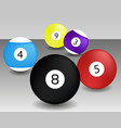 billiard ball black game pool isolated vector image vector image