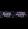 black friday and cyber monday sale banner set in vector image