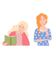 blonde and ruddy girls woman reading book vector image