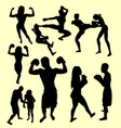 boxing and fight silhouette vector image vector image