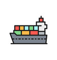 cargo ship with parcels flat color icon vector image