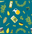 cartoon olive oil elements seamless pattern vector image vector image