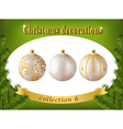 christmas decorations collection white glass vector image vector image