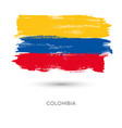 colombia colorful brush strokes painted national vector image vector image