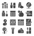 cosmetics related icons set cream bottle vector image