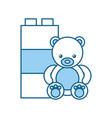 cute bear teddy with blocks vector image