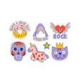 cute trendy patches set colorful childish vector image vector image