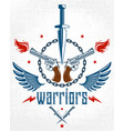 dagger knife and other weapons emblem of vector image vector image