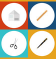 flat icon tool set of nib pen straightedge vector image vector image
