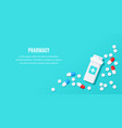 flat style banner with medical drugs tablets and vector image