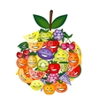 Funny fruit characters smiling together apple vector image