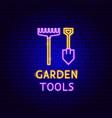 garden tools neon label vector image