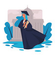graduated student with diploma university vector image