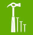 hammer and nails icon green vector image