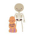 happy halloween celebration skeleton with pumpkins vector image vector image