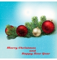 Holyday background with Christmas toys and spruce vector image vector image