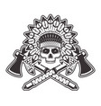 indian chief skull with tomahawks vector image vector image