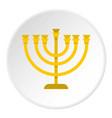 jewish menorah with candles icon circle vector image
