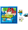 jigsaw puzzle game with farm animals vector image vector image