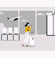 linear woman with luggage vector image