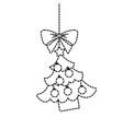 merry christmas tree hanging bow ball and star vector image