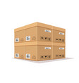 packing box overlaps realistic design isolated vector image