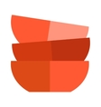 Red soup cup plate vector image vector image
