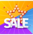 Sale poster on colorful background with star Star vector image vector image