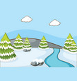 scene with pine trees and river vector image