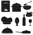 Set kitchen icons for restaurant cooking black vector | Price: 1 Credit (USD $1)