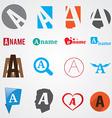 Set of alphabet symbols of letter A vector image vector image