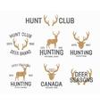 set vintage hunting and deer logo and label vector image