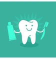 Tooth holding toothpaste and toothbrush vector image