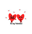 two flat cute hearts and text be my valentine vector image