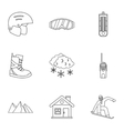 Vacation in mountains icons set outline style vector image vector image