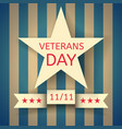 veterans day banner with a white star vector image