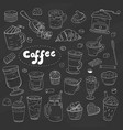 vintage different types of coffee elements on vector image