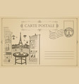 vintage postcard with street cafe and eiffel tower vector image vector image