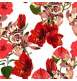 watercolor style red exotic flowers and orchid vector image vector image