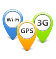 Wi-Fi 3G and GPS Icons vector image vector image