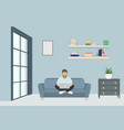 young business man working with laptop on sofa vector image