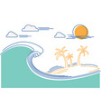 big ocean wave and tropical island flat line vector image vector image