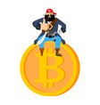 bitcoin and pirate filibuster on web coin illegal vector image vector image