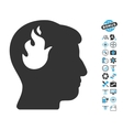 Brain Fire Icon With Air Drone Tools Bonus vector image